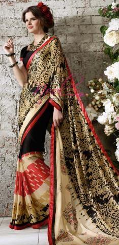 Crepe Saree, Nara, Sarees, Chiffon, Printed, Casual, Black, Design, Fashion