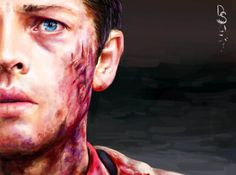 Fallen - Cas -Misha Collins - Supernatural -- Drawn by DontSpeak(me) on Muzy, link goes to my DA - http://dontspeaksilent.deviantart.com/art/Fallen-Cas-477980029