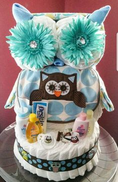Owl diaper cake baby boy Creative Baby Cakes by Kelly