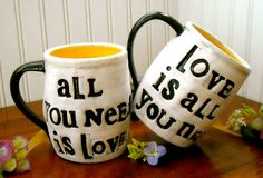 Personalized Mugs  ALL You Need Is Love 2 Cup Set  by LoveArtWorks, $92.00