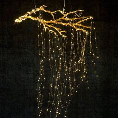 Create a cascade of lights from a suspended branch. | 28 Breathtaking Ways to Decorate With Christmas Tree Lights | POPSUGAR Home Photo 3