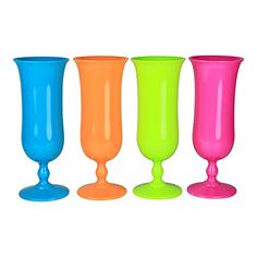 Set of 4 - Plastic Hurricane Glass Luau Party Cup Tumbler...