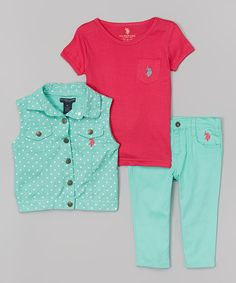 Look at this U.S. Polo Assn. Frozen Aqua Dot Button-Up Vest Set - Infant, Toddler & Girls on #zulily today!