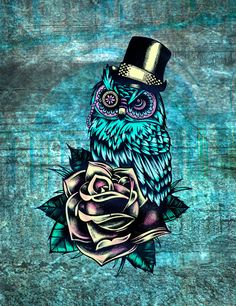 Tattoo style owl with top hat and rose. Rockabilly style.  by Kristy Patterson Design