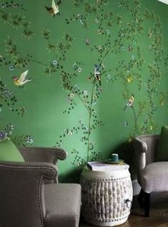 Green home decorating - myLusciousLife.com - diversionproject_green chinoiserie wallpaper.jpg