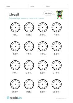 volle Stunden ablesen | deutsch | Pinterest | Math, Telling time and ...