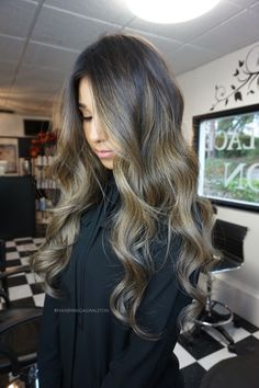 Brunette Ash Balayage Sombre/Ombre. Hair by Abigail Walston. Instagram @Abigail_Walston