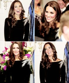 The duchess wore a black bespoke Jenny Packham dress, embellished with silver ferns embroidered over the shoulder in intricate beading.  1