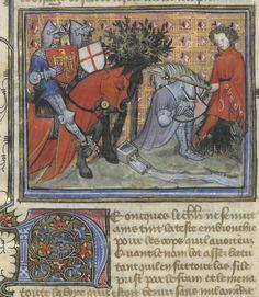 « C'est le livre de messire Lancelot du Lac, ouquel livre sont contenus tous les fais et les chevaleries dudit messire Lancelot, et la Queste du saint Graal faite par ledit messire Lancelot, le roy Artus, Galaad, le bon chevalier Tristan, Perceval, Palamedes et les autres compaignons de la Table ronde. » — 1er volume. Author : Gautier Map. Auteur du texte Url of the page : http://gallica.bnf.fr/ark:/12148/btv1b55001677b/f499.item