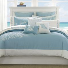 Presenting the new Blue Coastline Duvet 3-piece King Size bedding Collection, in shades of soft aqua blue with ivory trim and pretty ivory coral embroidered images. Bring the calming feel of the coast