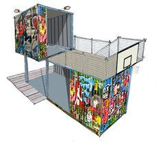 Digitaal ontwerp van een hangcontainer