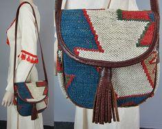 Vintage Wool Kilim Tooled Leather Bag Saddle Indian Handbag Cross Body Shoulder Purse Ethnic India Hippie Boho