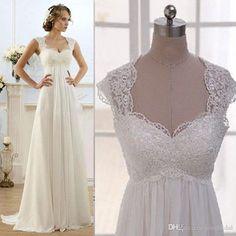 2016 Modest Ivory Beach Wedding Dresses Real Photos Cheap Lace Sweetheart Capped Sleeves Open Back Vestido De Novia Chiffon…