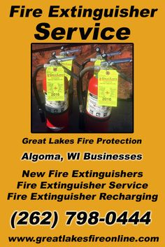 Fire Extinguisher Service Algoma, WI (262) 798-0444 Call the Experts at Great Lakes Fire Protection.. We are the complete source for Fire Extinguisher Service for Local Wisconsin Businesses We would love to hear from you.. Call us Today!