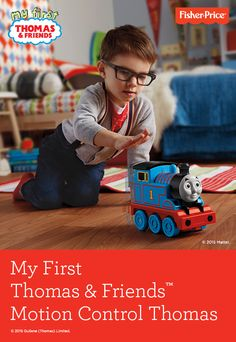 Motion Control Thomas from Fisher-Price® is a train that lets you control the No.1 blue engine with just a wave of your hand! Featuring fun phrases and sounds, Motion Control Thomas offers a magical new way to play! Ages 2 years and up.
