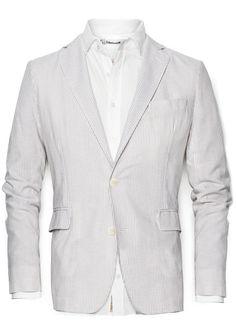 Linen cotton-blend striped blazer #SS13 #Men #HebyMango