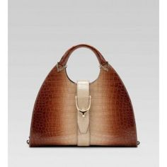 Gucci Stirrup Medium Top Handle Bag Brown Shaded Crocodile ST