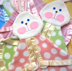Pink Polka Dot Foo Foo Bunny Blanket by SuziesImaginarium on Etsy, $23.00  Super cute in polka dots!!