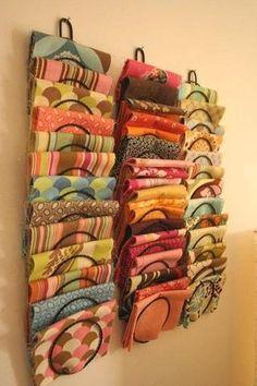 Sewing Fabric Storage Oh You Crafty Gal: Craft and Sewing Room Storage Ideas Sewing Room Storage, Sewing Room Organization, Craft Room Storage, My Sewing Room, Sewing Rooms, Fabric Storage, Storage Ideas, Fabric Organizer, Organization Hacks