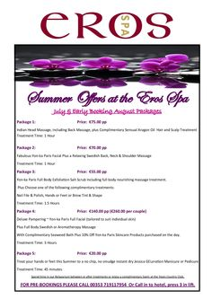 Summer Offers at Eros Spa, Exclusive Spa located at the Yeats Country Hotel, Rosses Point, Sligo