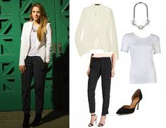 white lace top and black polka dot pants