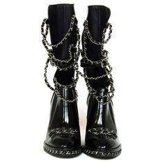 CHANEL Black Glazed Chain Obsession Boots w/ Thigh-high Lambskin... (¥569,480) ❤ liked on Polyvore featuring shoes, boots, chanel, heels, sandals, black boots, thigh high boots, black thigh high boots, over the knee lace up heel boots and chanel boots