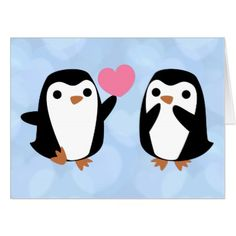 #Penguins in Love Card - #cute #gifts #cool #giftideas #custom