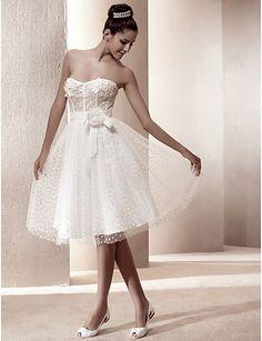 Princess Sweetheart Natural Knee-length Sleeveless Zipper Tulle Reception Hall Wedding Dress #169400(More color option)