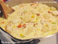 and Corn Chowder Crab and Corn Chowder - This is a rich, creamy chowder with sweet crab and corn. It is sure to warm your soul any day.Crab and Corn Chowder - This is a rich, creamy chowder with sweet crab and corn. It is sure to warm your soul any day. Crab Recipes, Soup Recipes, Dinner Recipes, Cooking Recipes, Chowder Recipes, Lunch Recipes, Dinner Ideas, Chicken Recipes, Recipies