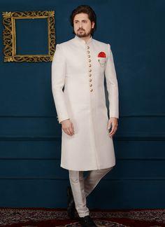Buy White Art Silk Indowestern Sherwani online, SKU Code: This White color indowestern sherwani for Men comes with Jacquard Art Silk. Mens Wedding Wear Indian, Sherwani For Men Wedding, Mens Indian Wear, Wedding Dresses Men Indian, Sherwani Groom, Indian Groom Wear, Wedding Dress Men, Wedding Suits, Pakistani Dresses