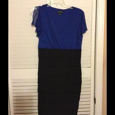 Enfocus Studio dress Worn once blue and black dress. Bottom is spandex and too is chiffon with split sleeve Dresses Midi