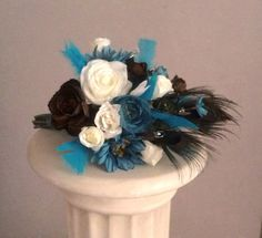 Peacock Wedding flowers Turquoise Teal blue brown by AmoreBride, $140.00
