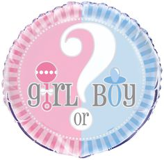 """This foil balloon from the gender reveal range is a great addition to your party decor. It has a 45.7cm (18"""") diameter and can be filled with helium or air. This balloon looks great on its own or mixed with our latex collection and features a unisex colour scheme of pink, blue and white. The words 'Girl or Boy' are written across the middle.  Supplied unfilled however you can fill at florists or any good party store for a nominal charge."""