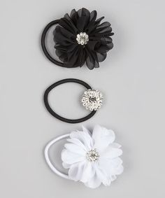 Look at this #zulilyfind! Black & White Hair Tie Trio #zulilyfinds