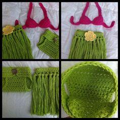 Newborn Hula Girl Crochet set ♪ ♪ ... #inspiration_crochet #diy GB