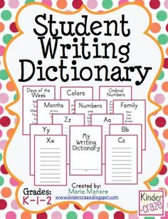 Student Writing Dictionary for Early Elementary   # Pin++ for Pinterest #