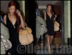 Rihanna hits the streets of Paris with Miu Miu    Rihanna was seen leaving her hotel in Paris on Sunday wearing a low-plunging black dress, nude heels and Miu Miu hobo bag.    UK's exclusive luxury authentic handbag SPA   Visit us on Facebook: www.facebook.com/DelortaeAgency    Images via rihannaphotos.org