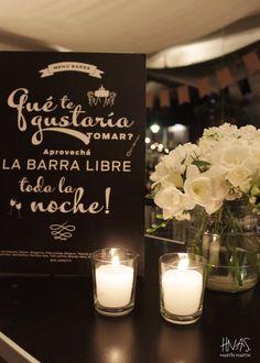 decoración de barra Candle Jars, Candles, Chalkboard, Birthdays, Alcohol, Party, Wedding, Irene, Ideas Para