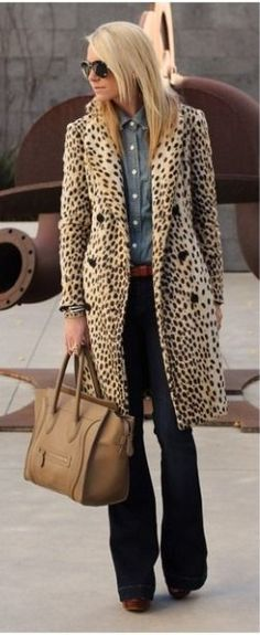 animal print coat + chambray + denim flares
