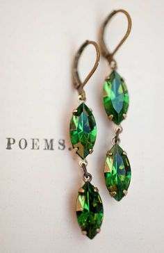 Emerald Green Earrings  Swarovski Crystal Vintage by Not One Sparrow