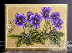 Violet Colored Paper, Colored Pencils, Copics, Kraft Paper, Pansies, Birthday Cards, Floral Wreath, Creative, Flowers