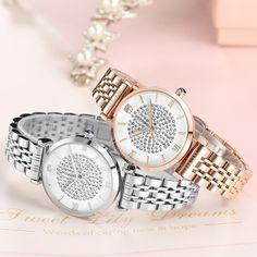 7ed7118e97fa Reloj de lujo de diamantes de imitación de oro rosa para las mujeres de  moda cuarzo