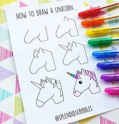 How to draw a unicorn from ig @ splendidscribbles - # unicorn . - How to draw a unicorn from ig @ splendidscribbles – - Bullet Journal Banner, Bullet Journal Art, Bullet Journal Inspiration, Journal Ideas, Cute Easy Drawings, Kawaii Drawings, Doodle Drawings, Unicorn Drawing, Unicorn Art