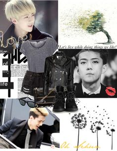 #sehun #oh #ohsehun #thehun #exok #exo #exol #blond #perfect #fashion #outfit #black #grey #summer #leather #denim #sunglasses #tree #kpop