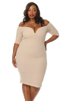 Plus Size Off The Shoulder Sweetheart Bodycon Dress
