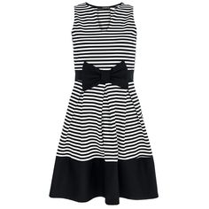 Queen of the Green QUIZ Black Stripe Bow Panel Skater Dress