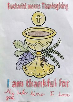 First Communion coloring page used for 7 to 9 years old children durimg retreat. Catholic Sacraments, Teaching Religion, Religious Education, Eucharist, Sunday School Crafts, Catechism, Year 2016, First Holy Communion, School Projects
