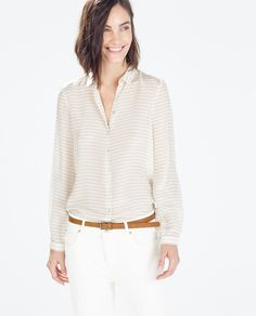 Image 1 of STRIPED SILK BLOUSE from Zara