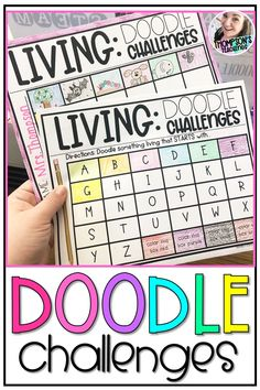 Practice skills in a fun, new way! Doodle challenges combine academics and art. Great for early finisher activities, enrichment challenges, distance learning packets, indoor recess, and more! #doodlechallenges #art #enrichment #earlyfinisher #distance learning