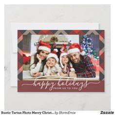 Rustic Tartan Photo Merry Christmas Navy Red Holiday Card Christmas Photo Cards, Christmas Quotes, Christmas Greetings, Holiday Cards, Tartan Christmas, Merry Little Christmas, Merry Christmas Typography, Rustic Blue, Lettering